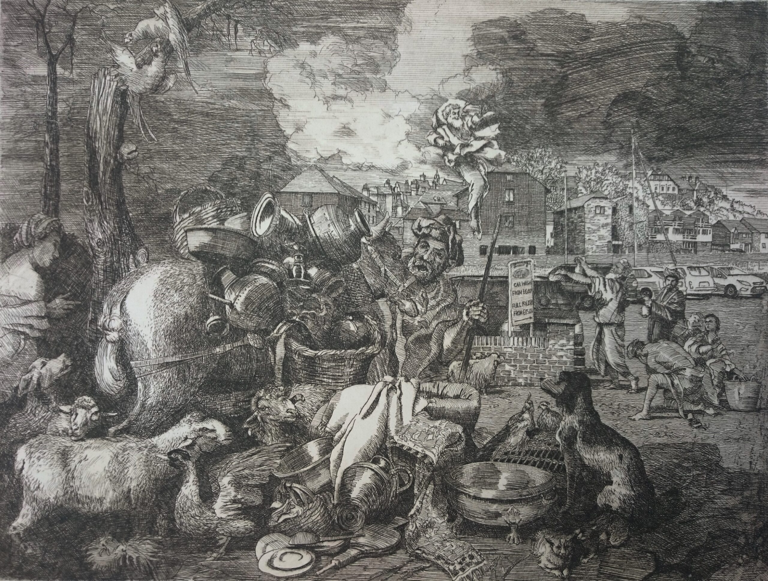 Etching on a classical theme Satirical