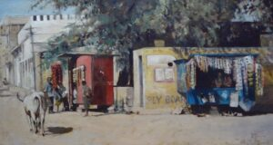 Oil painting of the square in Bhenswara Rajasthan
