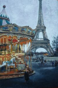 Oil painting in front of the Eiffel Tower Paris