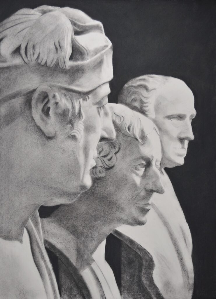 """Gentlemen of the V&A"" Charcoal on paper 