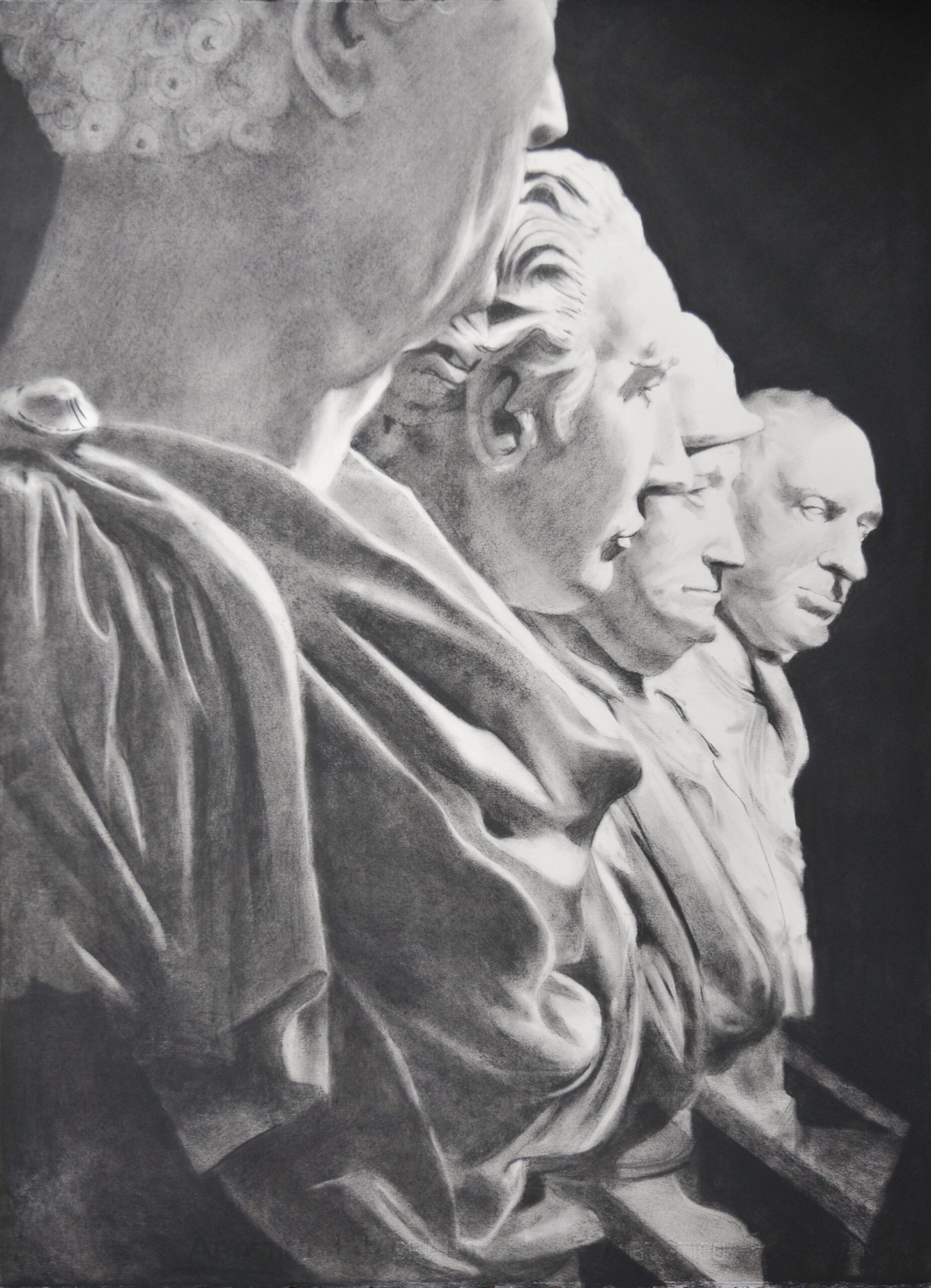 Charcoal drawing of statues at the V&A Museum