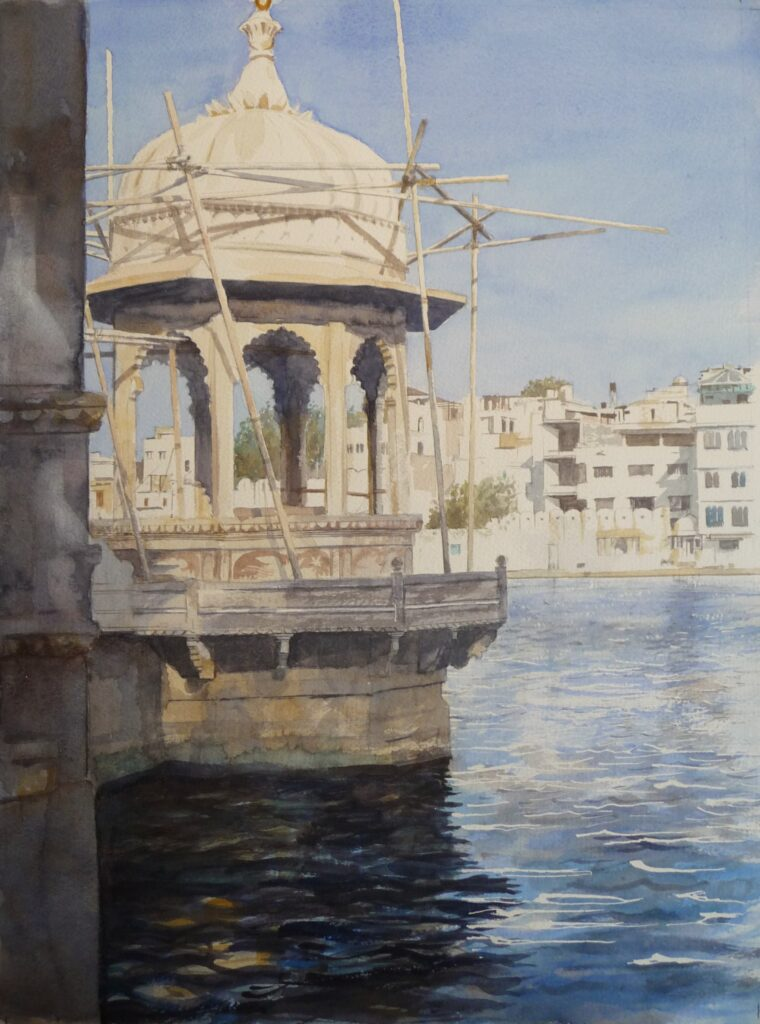 """Hanuman Ghat Temple Udaipur"" Watercolour 