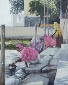 Oil painting of Hanuman Ghat Udaipur Rajasthan India