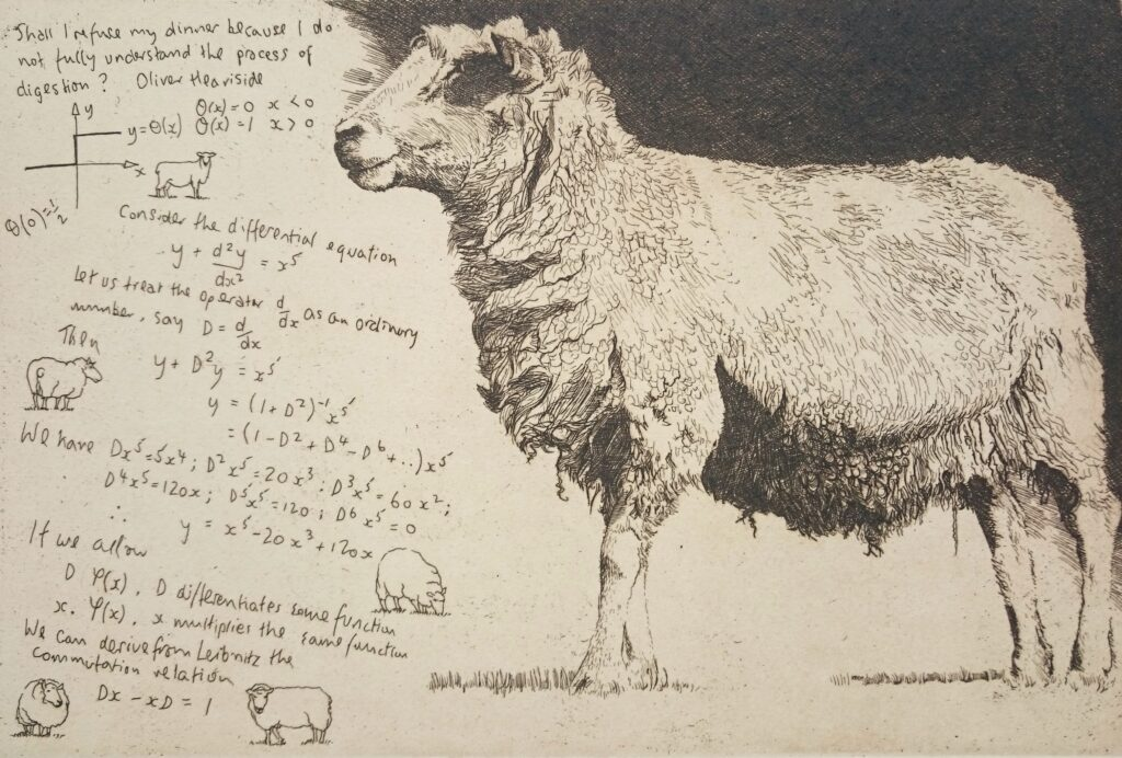 """Heaviside Sheep"" Etching 