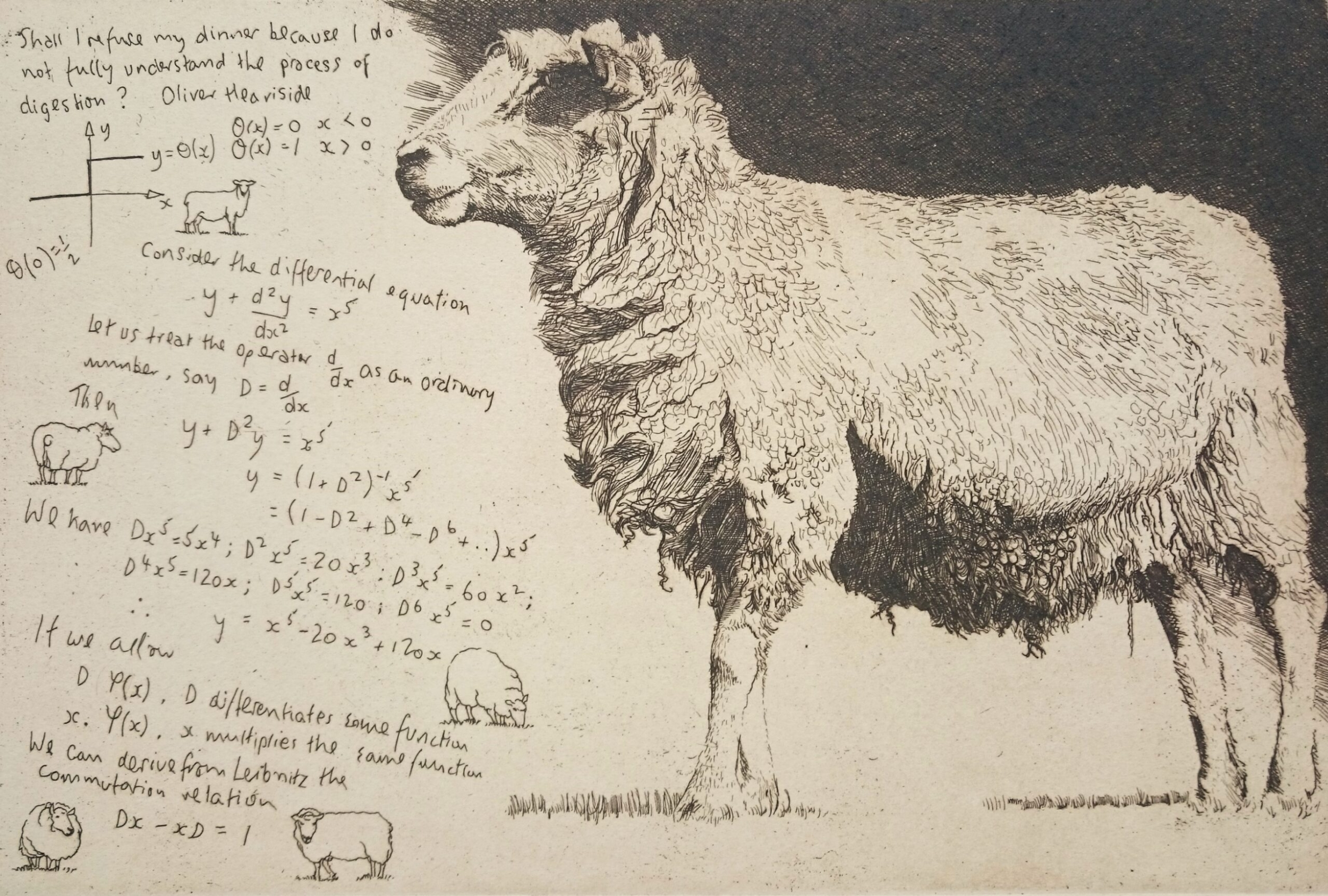 Etching of a sheep with notes on the works of Oliver Heaviside