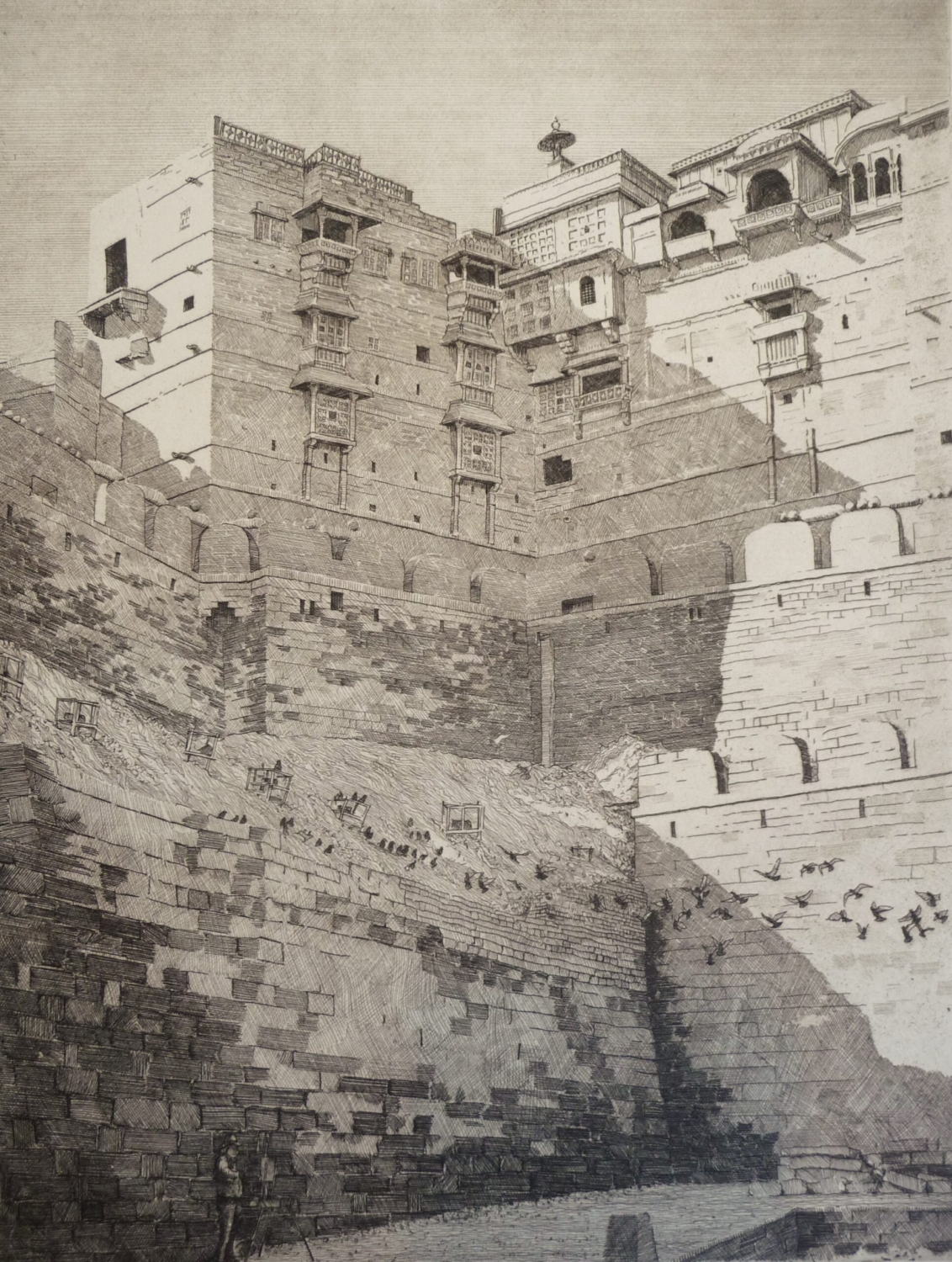 Etching of the fort at Jaisalmer Rajasthan