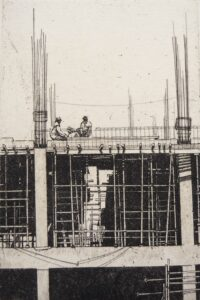 Etching of a construction site in Jodhpur Rajasthan