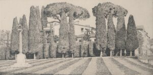 Etching of the gardens next to the Leaning Tower of Pisa