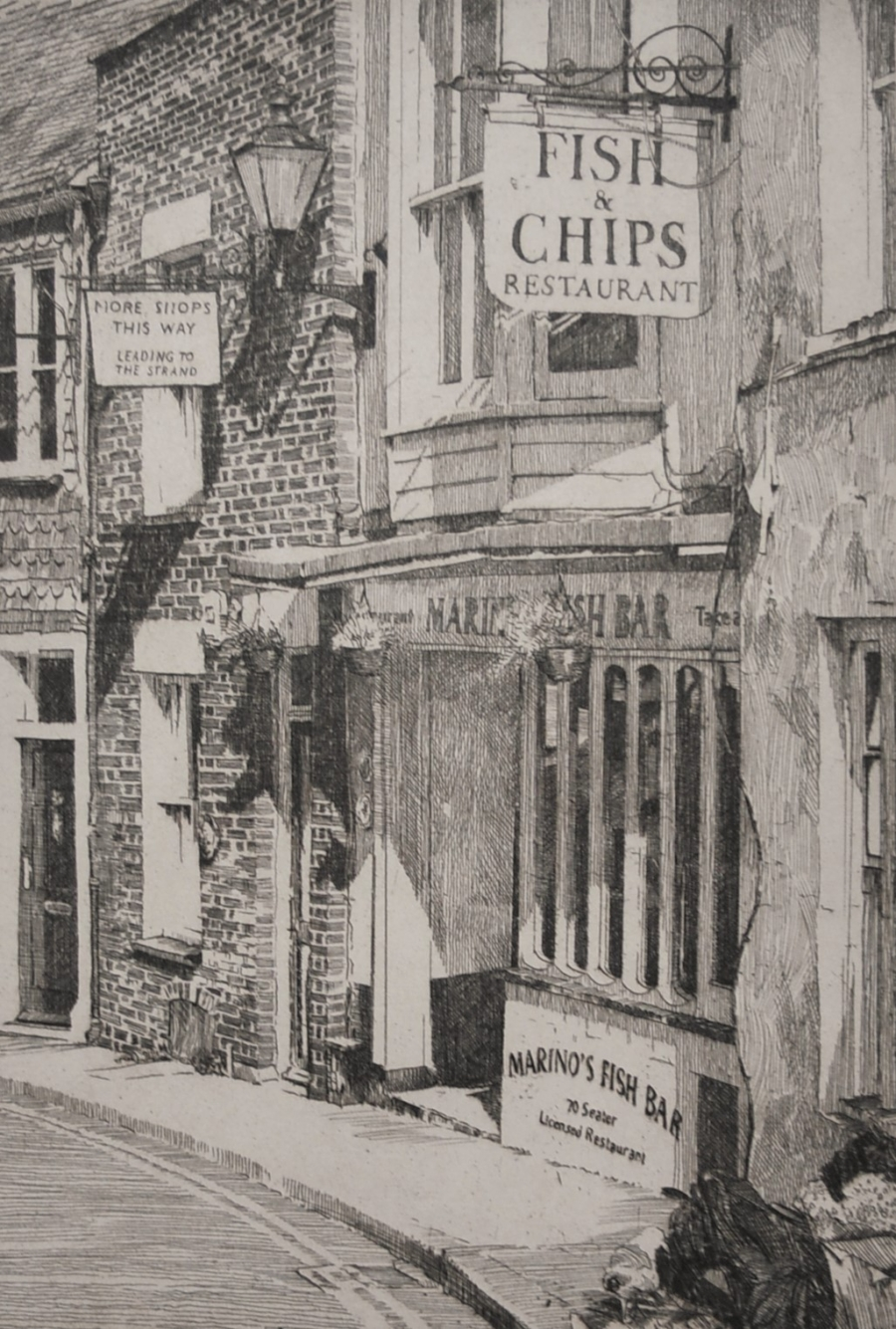 Etching of fish and chip shop on the Mint Rye