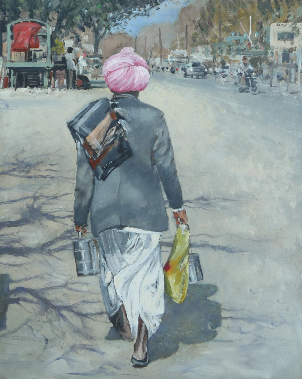 Oil painting of a street scene Ahore Rajasthan