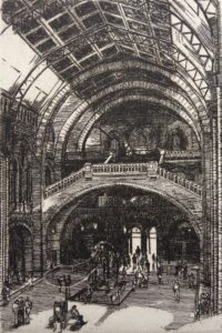 Etching of the main hall at the Natural History Museum London