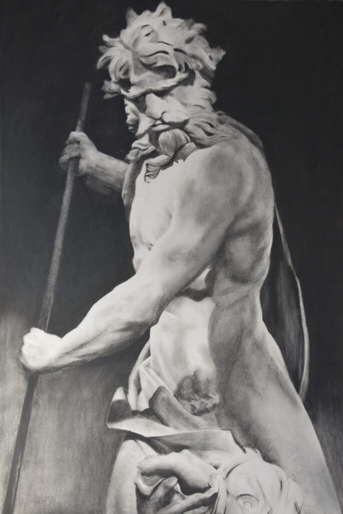 """Neptune"" Charcoal on paper 