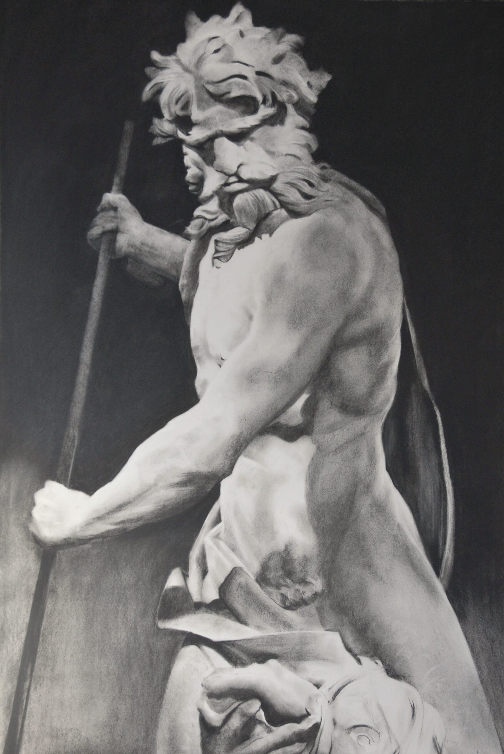 Charcoal drawing of statue of Neptune and Triton by Bernini at the V&A Museum