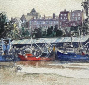 Watercolour painting of the Fishmarket at Rye East Sussex