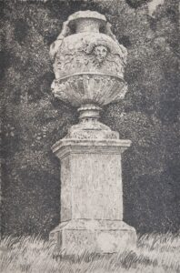 Etching of an urn in the grounds of Petworth House