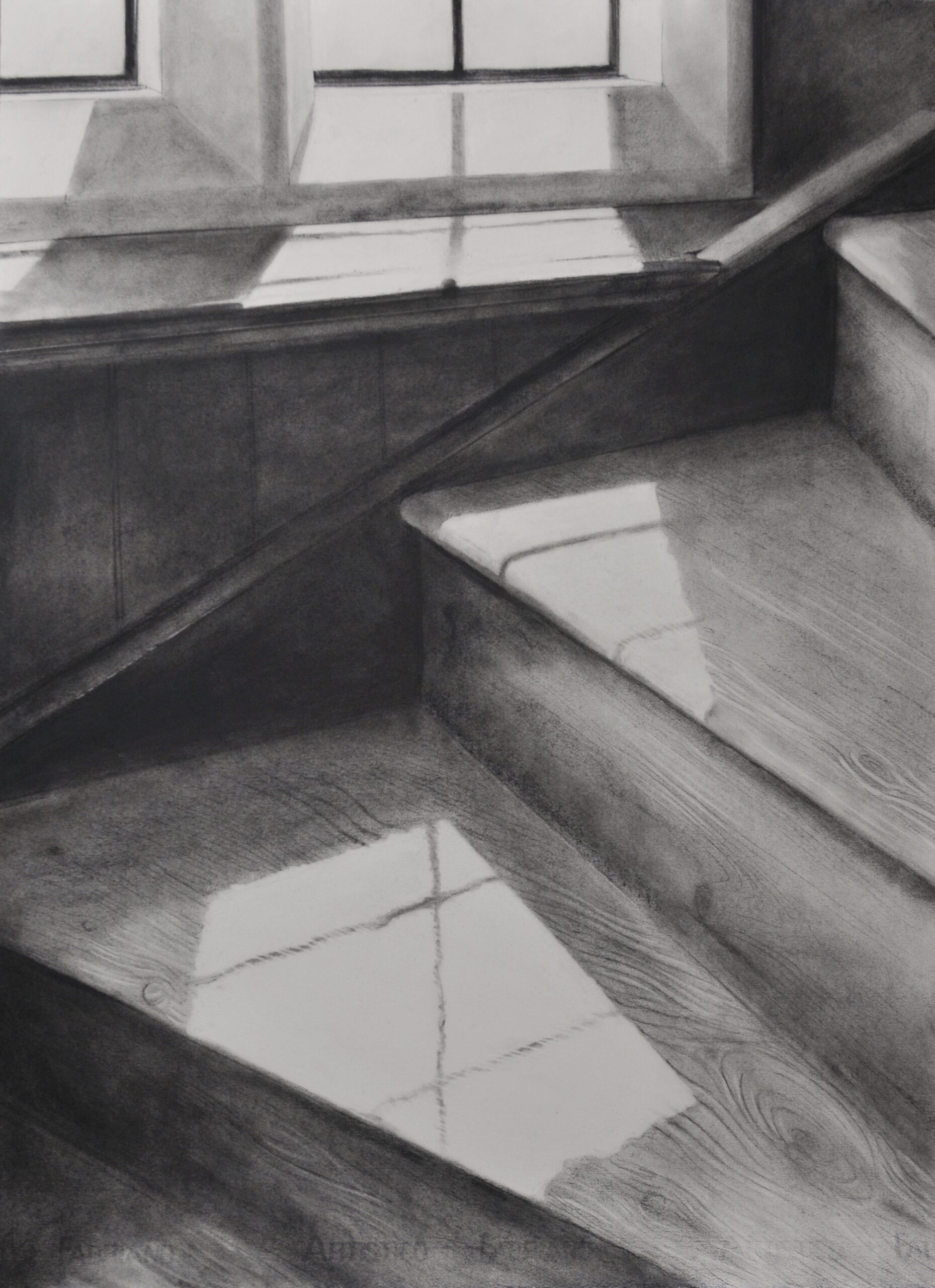 Charcoal drawing of the stairwell at Pugin's House Margate