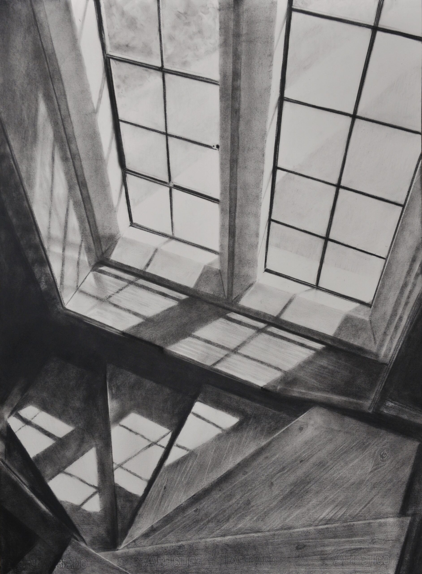 Charcoal drawing of the stairwell Pugin's House Margate