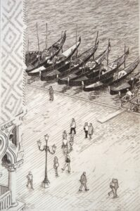 Etching of the view from St Marks Venice