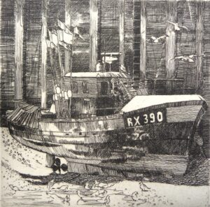 Etching of a Rye registered boat