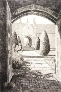 Etching of view through arch at Sissinghurst Castle