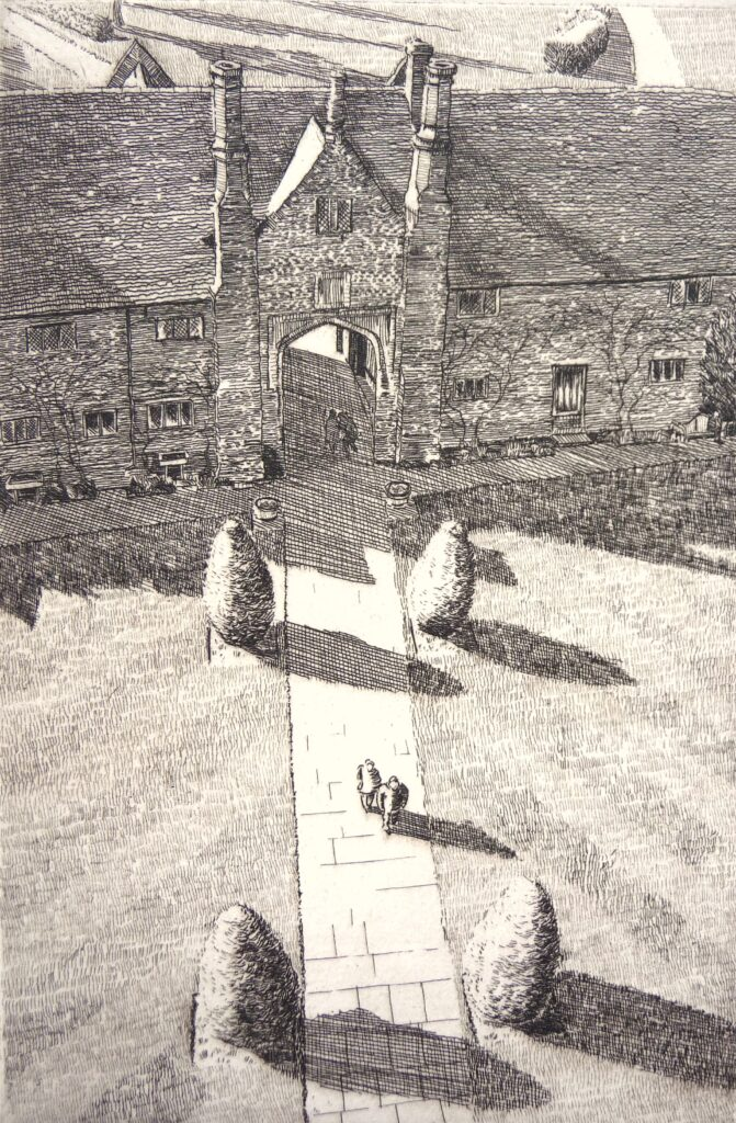 """Sissinghurst from the Tower"" Etching 