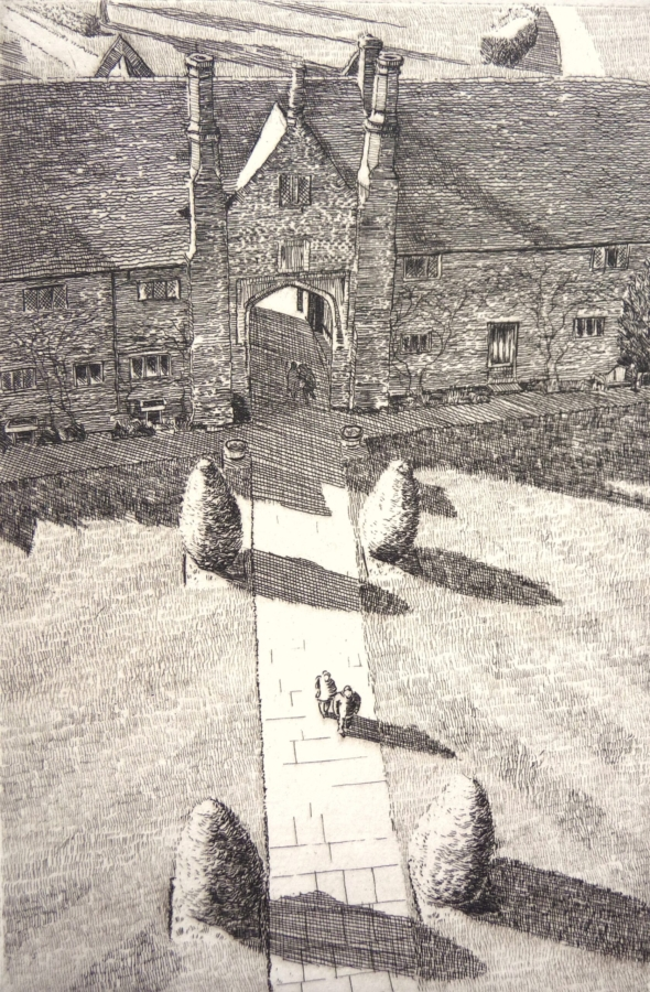 Etching of the view from the tower at Sissinghurst Castle