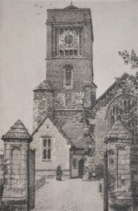 Etching of St Mary church Petworth