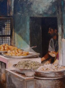 Oil painting of a street vendor Jodhpur Rajasthan