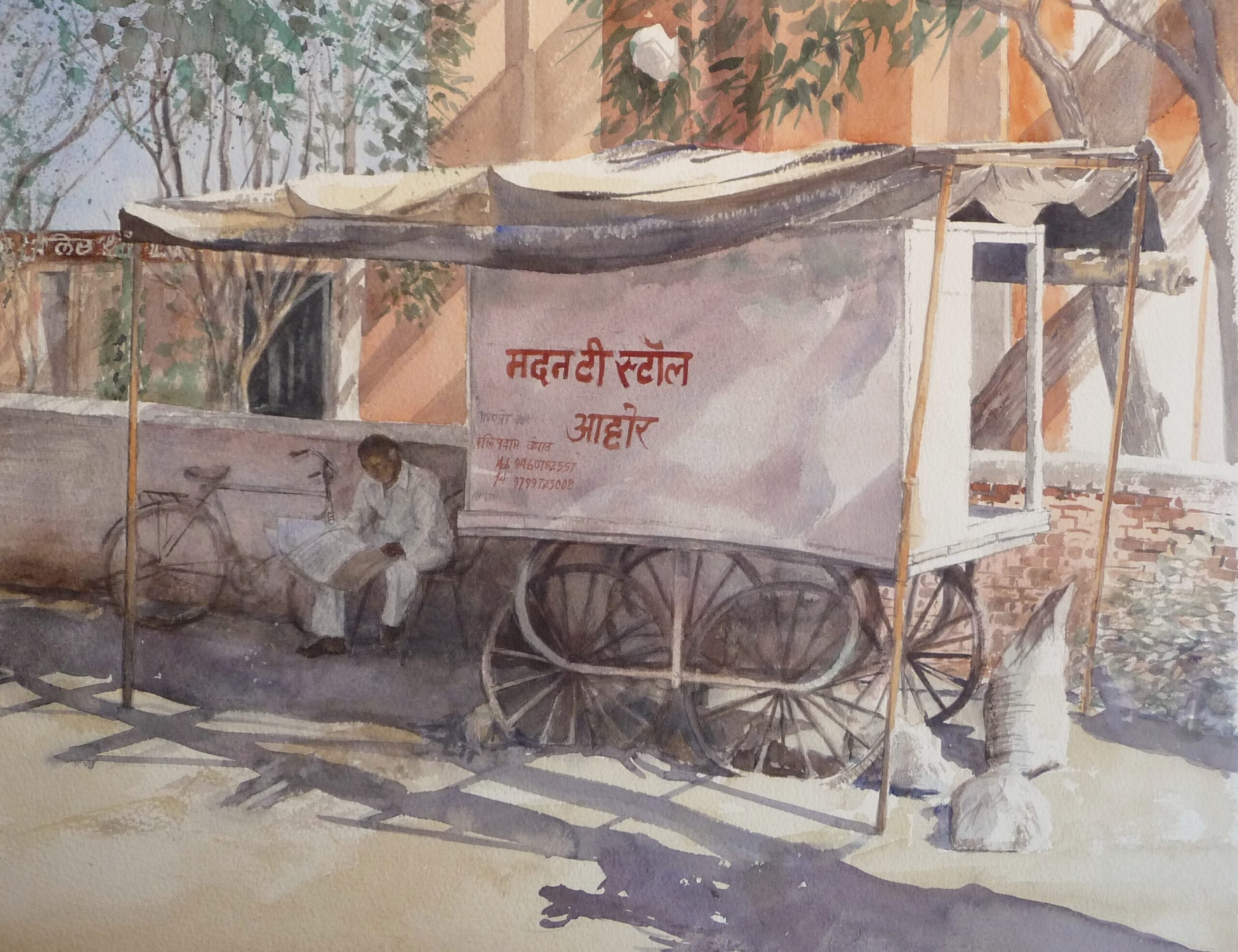 Watercolour painting of a street vendor cart Ahore Rajasthan