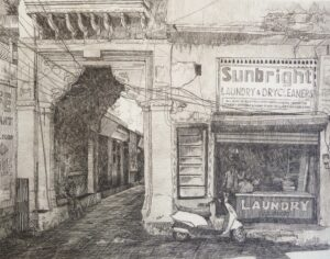 Etching of a shop front at Jagdish Chowk Udaipur Rajasthan