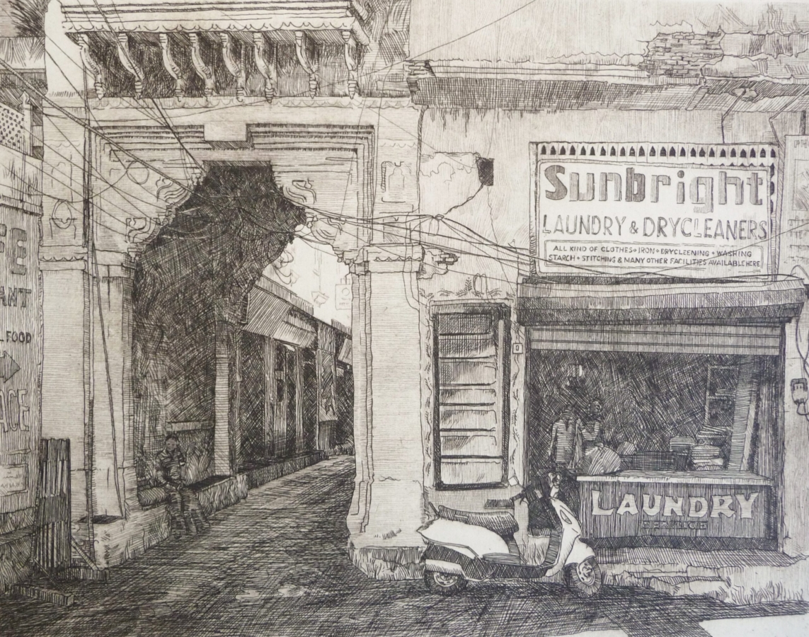 Etching of a shop front at Jagdish Chowk Udaipur Rajasthan