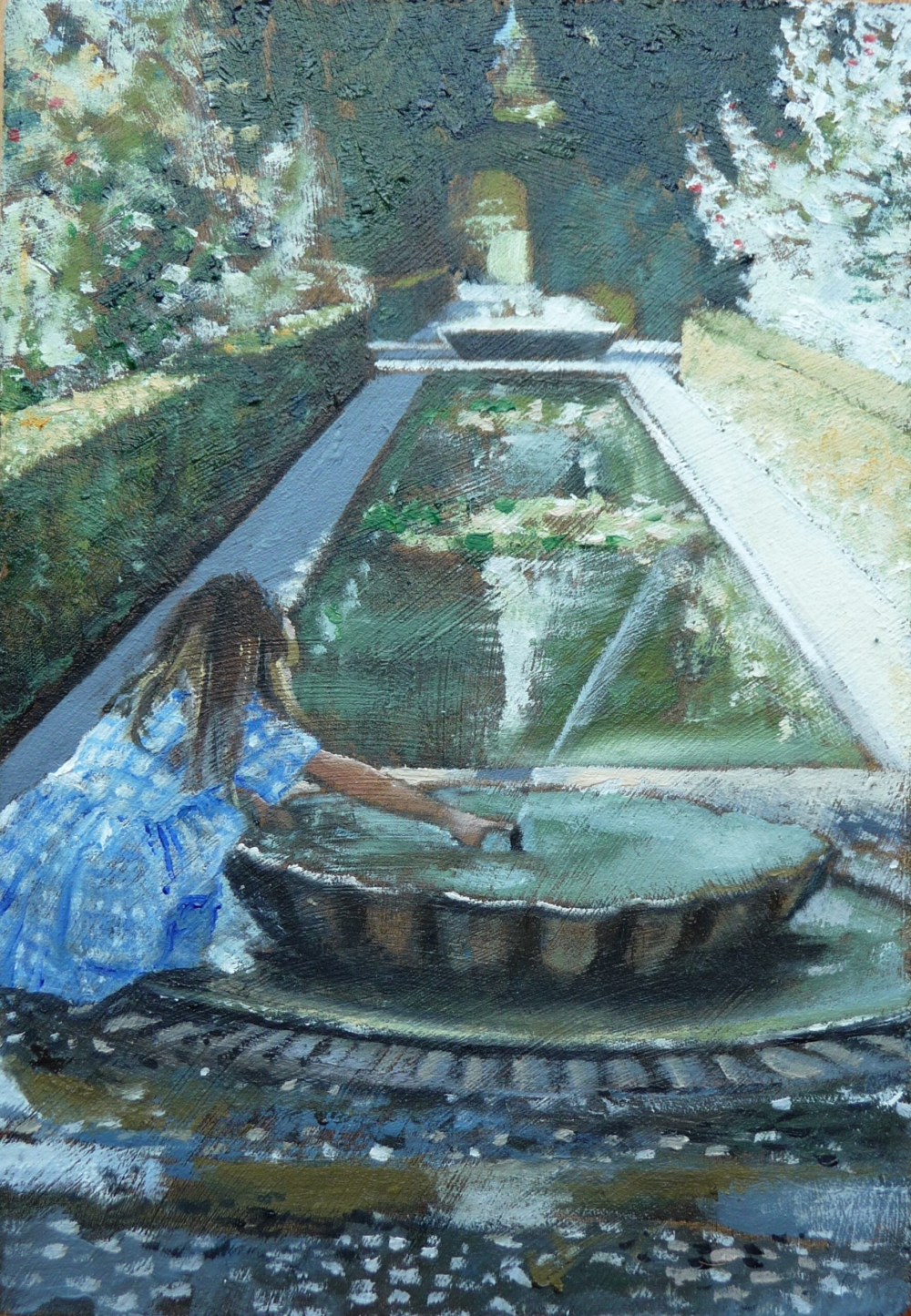 Oil painting of the Alhambra gardens The Generalife Spain