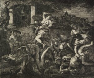 Etching based on classical theme Rape of the Sabine Women Satirical