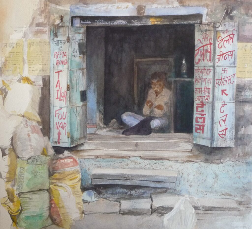 """The Tailor of Jodhpur"" Watercolour 