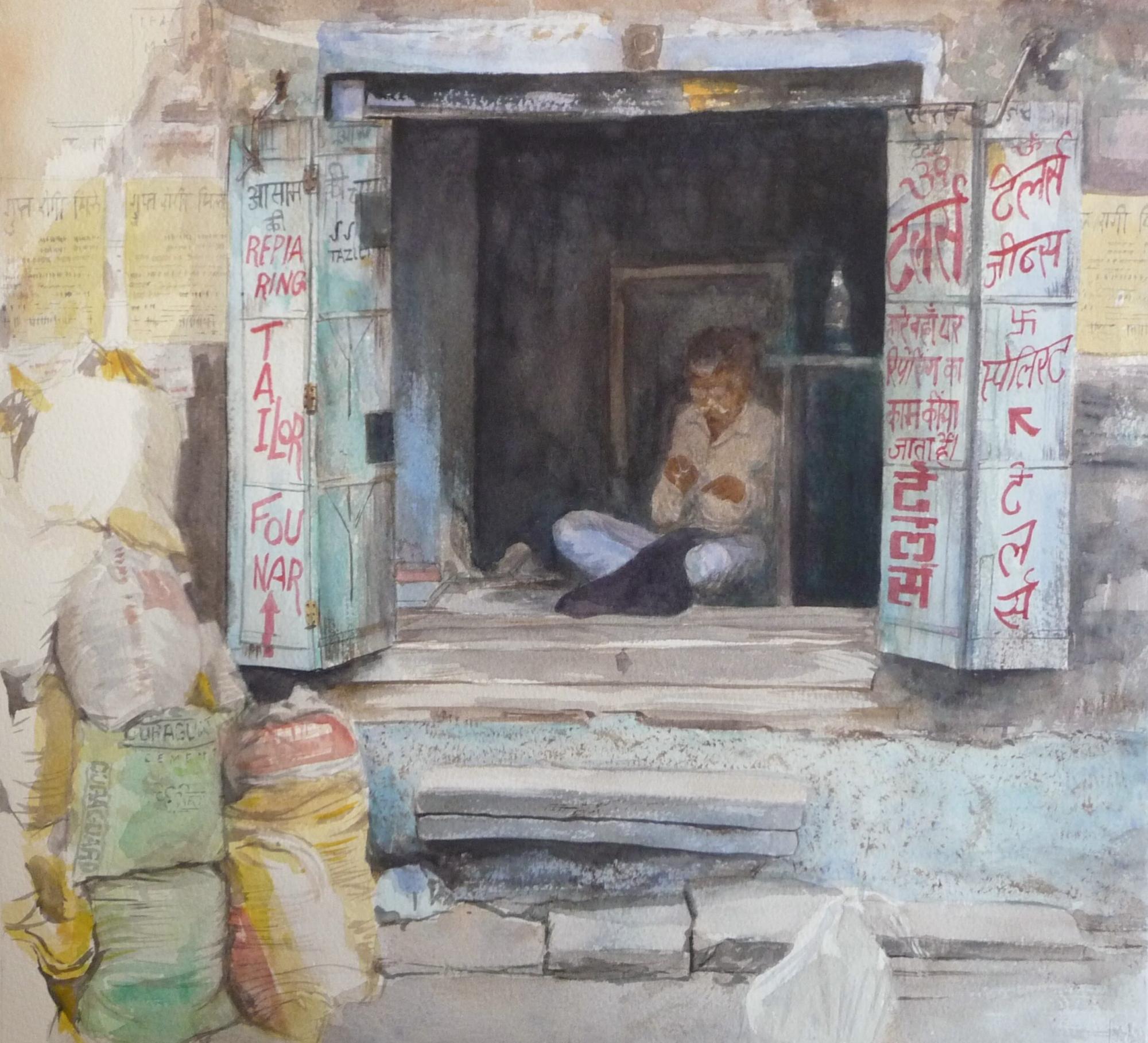 Watercolour painting of a shop Jodhpur Rajasthan