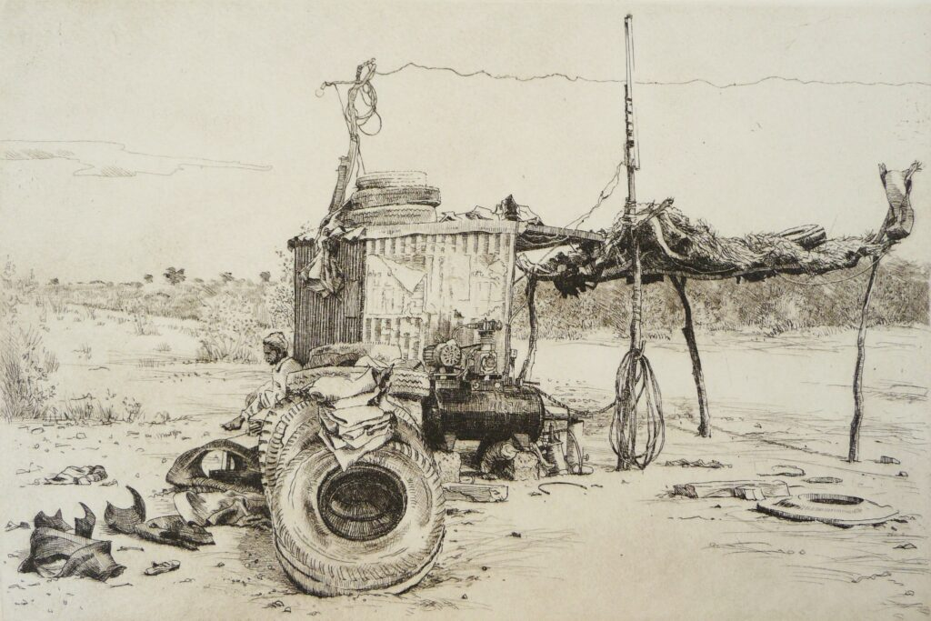 """The Tyre Stop, Rajasthan"" Etching 