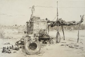 Etching of a Tyre stop Rajasthan India