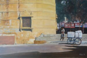 Oil painting of the new town square in Udaipur Rajasthan