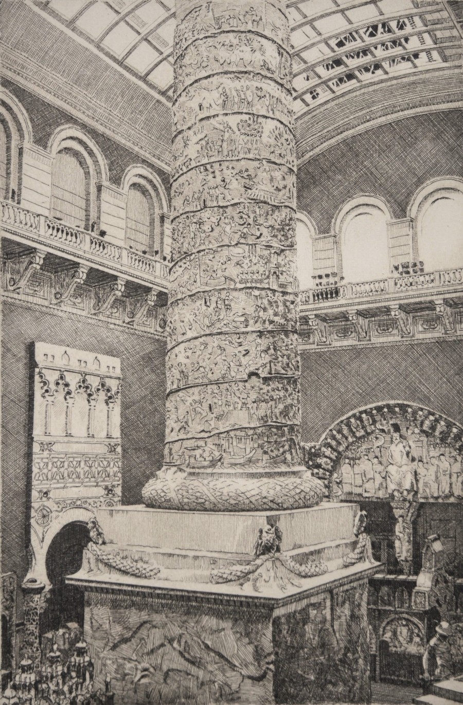 Etching of the plaster room at the V&A London