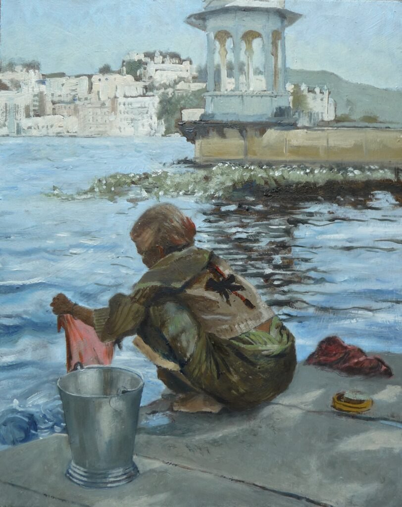 """Washing at Hanuman Ghat Udaipur"" Oil on board 