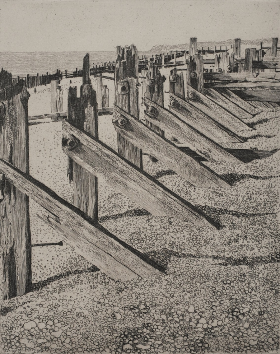 Etching of Winchelsea Beach East Sussex