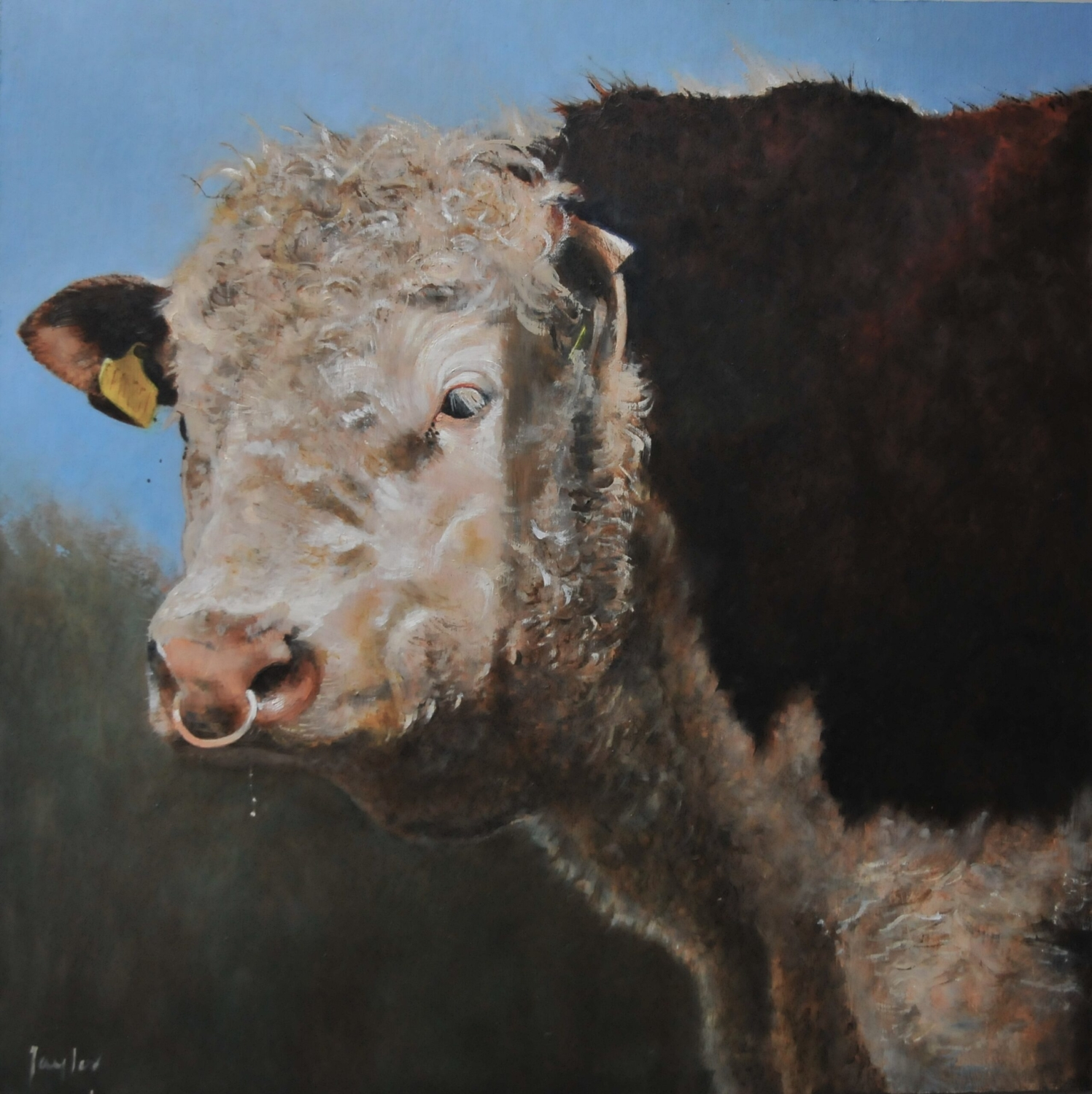 Oil painting of a bull seen on the banks of the River Stour