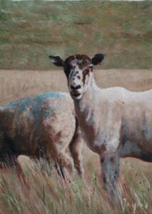 Oil painting of sheep on the South Downs Sussex