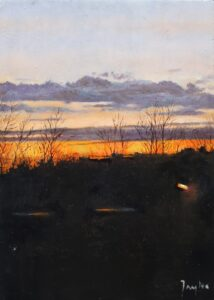 Oil painting of evening sky over Cadborough Cliff Rye East Sussex
