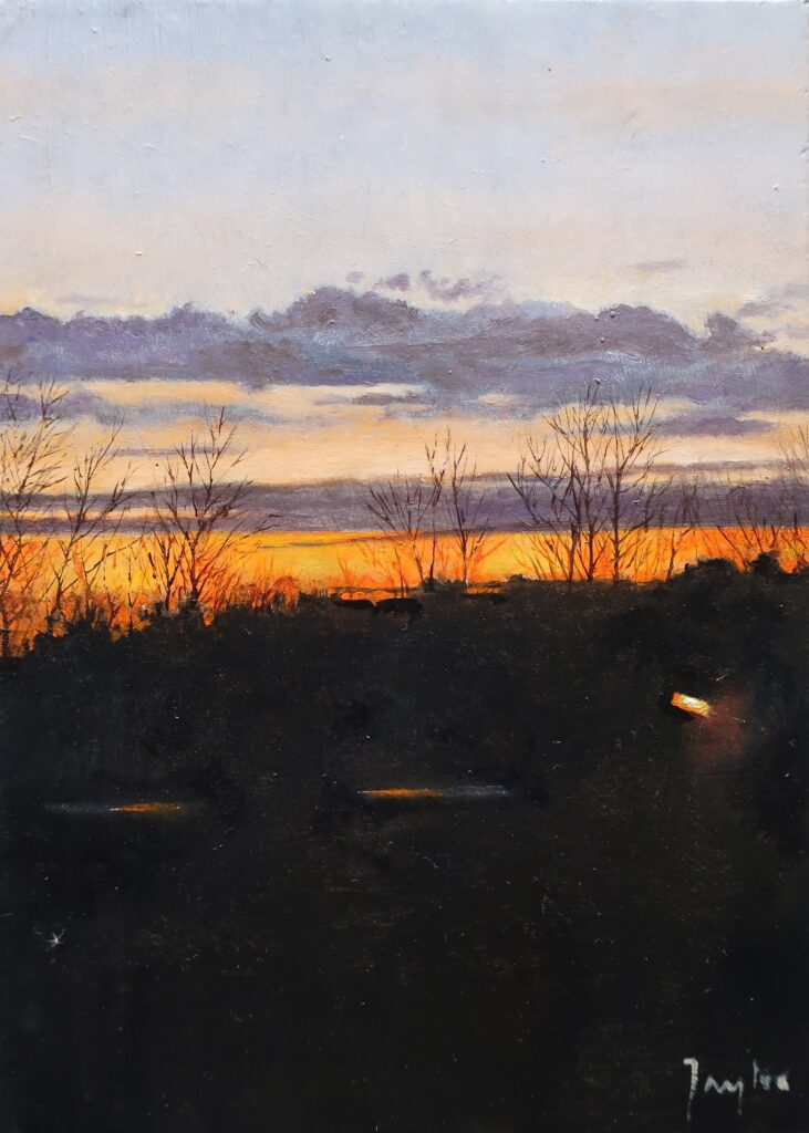 """Evening towards Cadborough Cliff"" Oil on board 