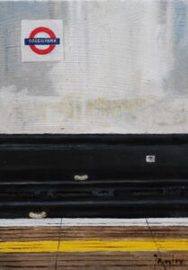 Oil painting of Green Park underground station London