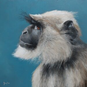 Oil painting of a portrait of a langur monkey