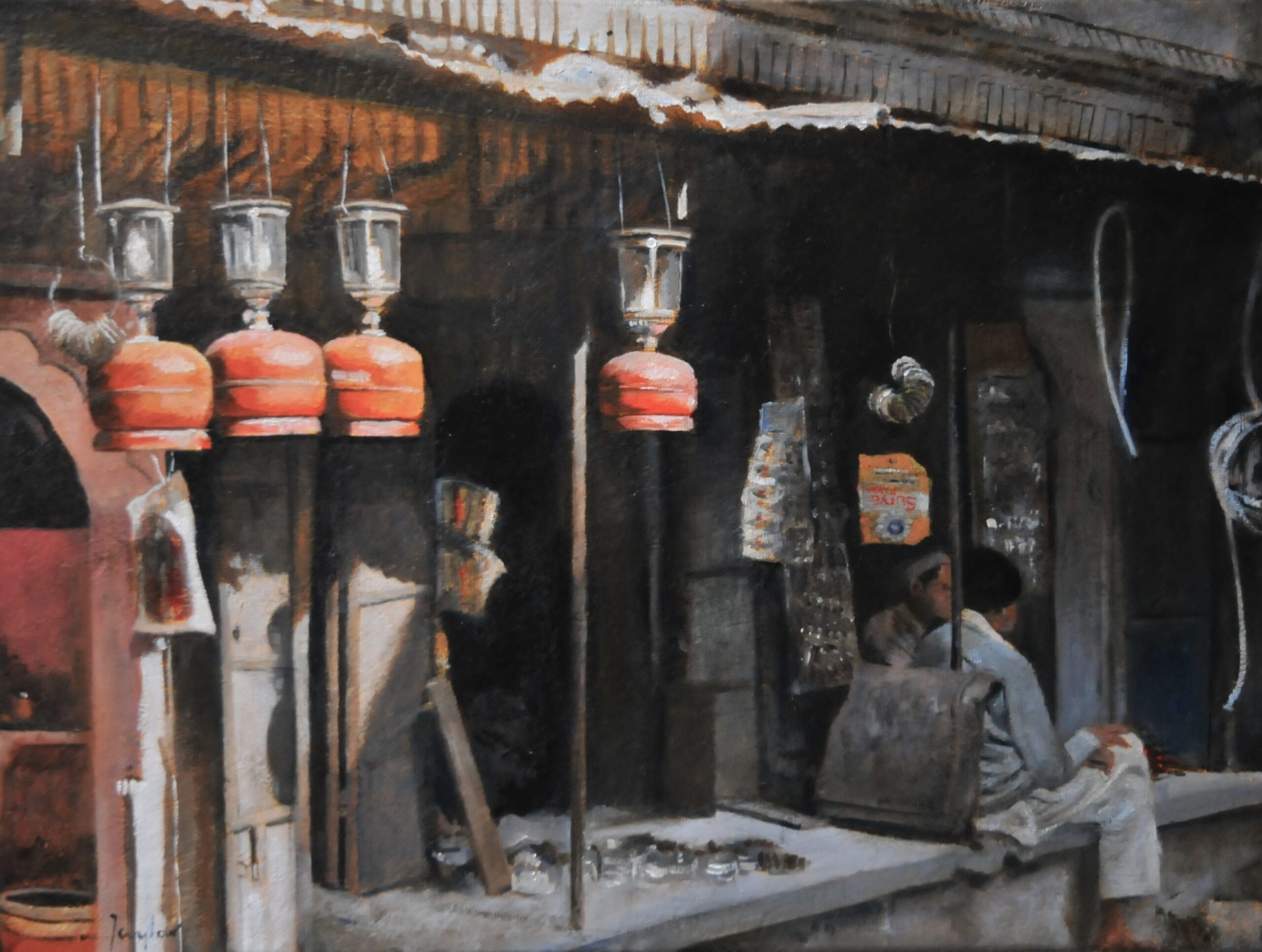 Oil painting of a shop front in Jodhpur Rajasthan