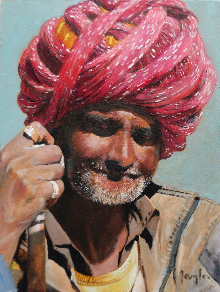 """Man with Turban, Ahore"" Oil on board 