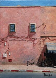 Oil painting of a street in Morocco